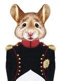 Stående av musen i militär likformig stock illustrationer