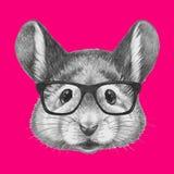 Stående av musen med exponeringsglas vektor illustrationer