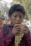 Stående av panpipen som spelar den bolivianska pojken, Bolivia Arkivbilder