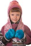 Stående av pojken i varma kläder Arkivfoto