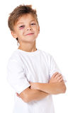 Stående av pojken med blåmärket royaltyfri bild