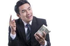 Stående av Rich Successful Businessman på vit bakgrund Royaltyfri Foto