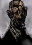 Stående av skallig och iklädd svart en gamal man, Arkivbild