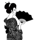 Stående av traditionella härliga japanska kvinnor med fanen Geish stock illustrationer