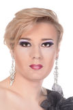 Stående av transvestit. Man som kläs som kvinna Royaltyfri Bild