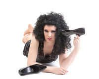 Stående av transvestit som ligger på golv Royaltyfri Fotografi