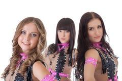 Stående av tre härliga unga dansare Arkivfoton