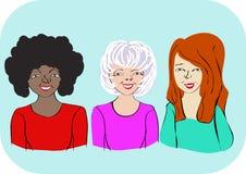 Stående av tre kvinnor av olik ålder och vänskapsmatch med ett brett leende stock illustrationer