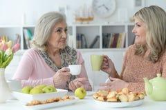 St?ende av tv? h?ga kvinnor som dricker te arkivbilder