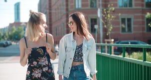 Stående av två lyckliga flickor som diskuterar senast skvallernyheterna Arkivfoto