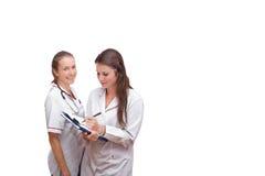 Stående av två sjuksköterskor Arkivbild