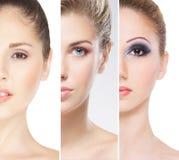 Stående av unga kvinnor i makeup royaltyfria foton