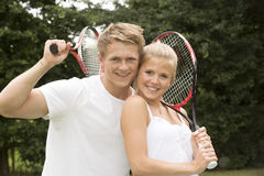 Stående av unga tennisspelare Royaltyfria Foton