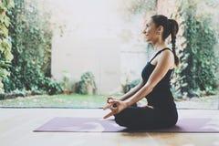 Stående av ursnygg praktiserande yoga för ung kvinna inomhus Härlig position för flickaövningslotusblomma i grupp Lugn och royaltyfria bilder