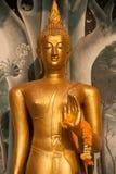 Stående Buddhaframdel av kyrkan på den thailändska templet i Thailand Royaltyfria Bilder