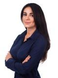 Stående för affärskvinna, korsade armar Arkivfoton