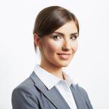 Stående för affärskvinna på vit Royaltyfri Foto