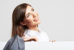 Stående för affärskvinna på vit Royaltyfri Fotografi