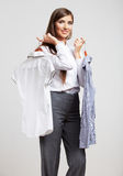 Stående för affärskvinna på vit Arkivfoto