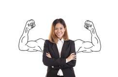 Stående för asiatisk kvinna för affär som stark isoleras på vit Arkivbild