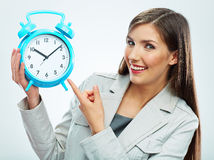 Stående för begrepp för tid för affärskvinna Vit bakgrund Royaltyfria Bilder