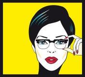 Stående för closeup för Eyewear exponeringsglaskvinna Kvinna som ha på sig exponeringsglas Royaltyfria Bilder