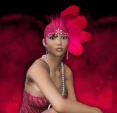 Stående för flicka för klaff för Art Deco 20-talfantasi royaltyfri illustrationer