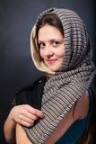 Stående för framsida för kvinnasjalslut övre. Handframsidahandlag. Fotografering för Bildbyråer