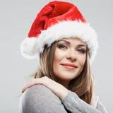 Stående för framsida för härligt för Santa Claus för ung kvinna slut hatt övre Arkivbilder