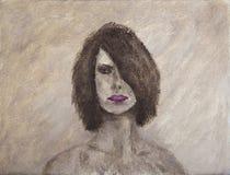 Stående för olje- målning av en gåtakvinna arkivfoton