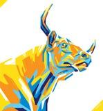 Stående för popkonst av den härliga tjuren också vektor för coreldrawillustration royaltyfri illustrationer
