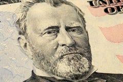 Stående för president Grant på amerikansk räkning för dollar femtio 50 Nära övre sikt för makro fotografering för bildbyråer