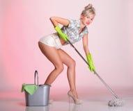 Stående för rengöringsmedel för hemmafru för utvikningsbrudflickakvinna Royaltyfri Fotografi