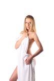 Stående för skönhetSpa kvinna isolerade den härliga flickan för höstbakgrund säsongsbetonad temawhite slapp hud Skincare begrepp Arkivbilder