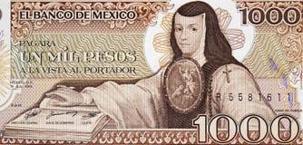 Stående för Sor Juana Ines de la Cruz på Mexico 1000 pesos b 1985 Fotografering för Bildbyråer