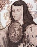 Stående för Sor Juana Ines de la Cruz på Mexico 1000 pesos b 1985 Royaltyfria Bilder