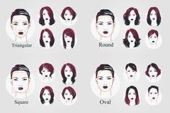 Stående för symbol för kvinnor för vektoruppsättning härliga med olik frisyr och ovala, runda, triangulära fyrkantiga stilsorter  stock illustrationer