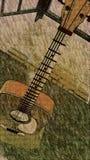 Stående farstubro-gitarr för driftstopp Fotografering för Bildbyråer