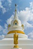 Stående guld- buddha staty med den vita pagoden Royaltyfri Foto