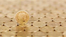 Stående guld- pund i ett fält av mynt royaltyfri foto