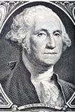Stående i makro av framsidan för Washington ` s på en en dollar räkning arkivfoton
