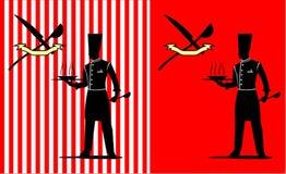 Stående konturkock på den röda bakgrunden stock illustrationer