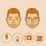 Stående och avatar för grafisk formgivare för vektor i moderiktig linjär vagel stock illustrationer