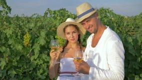 Stående som ler vinproducenter i vin för smaker för sugrörhattar av höstskörden på druvaträdgården stock video
