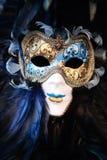 stående venice för karnevalitaly maskering Arkivfoto