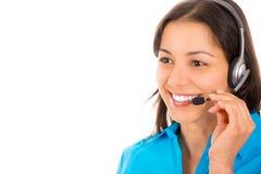 Ståendeheadshot av den härliga affärskvinnan med hörlurar med mikrofon Arkivfoton