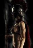 Ståendekontur av en grekisk spartansk kvinnlig krigare på en svart bakgrund royaltyfri illustrationer