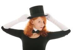 Ståendekvinna med hatten Fotografering för Bildbyråer