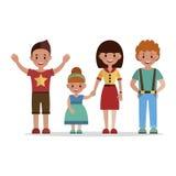 Ståenden är lyckliga barn Arkivfoton