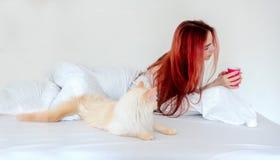 Ståenden av attraktivt, nöjt, ungt sexigt rödhårigt ligga för kvinna som kopplas av i säng, tycker om hennes kaffe och hennes kat royaltyfri foto
